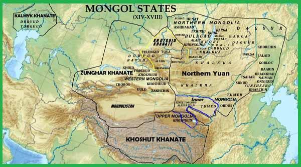 Монгольские государства в 17-м веке: Монгольский каганат, Джунгарское ханство, Хошутское ханство, Хотогойтское ханство, Калмыцкое ханство и Могулистан