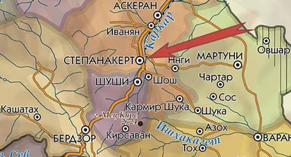 Cтепанакерт на карте Нагорного Карабаха
